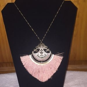 Fringe long statement fashion necklace